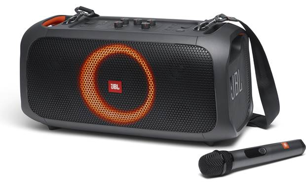JBL PartyBox On-The-Go Includes JBL wireless microphone