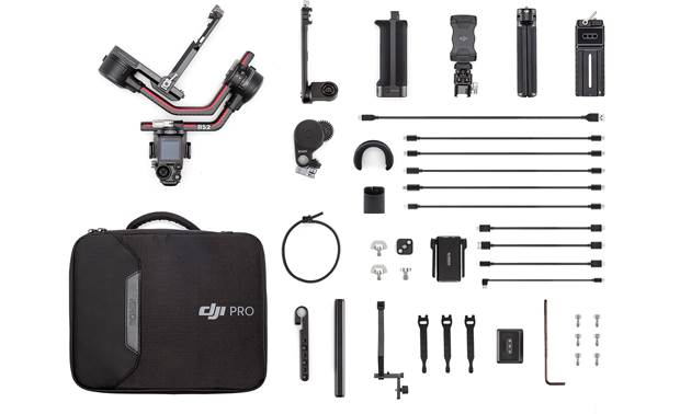 DJI Ronin RS 2 Pro Combo Shown with included splash-proof travel case, image transmitter, phone holder, focus motor, and cables