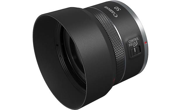 Canon RF 50mm f/1.8 STM Shown with optional ES-65B lens hood (sold separately)