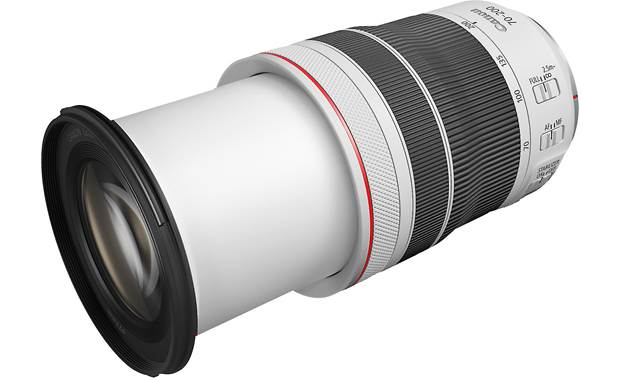 Canon RF 70-200mm f/4 L IS USM Shown fully zoomed in with lens hood removed