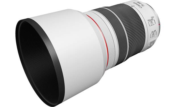 Canon RF 70-200mm f/4 L IS USM Shown fully zoomed out with lens hood on