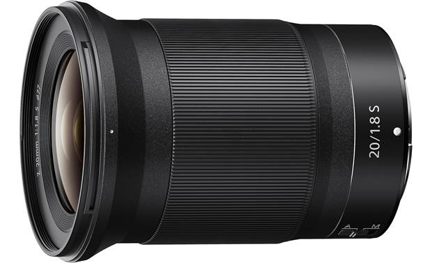 Nikon NIKKOR Z 20mm f/1.8 S Shown with lens hood and lens caps removed