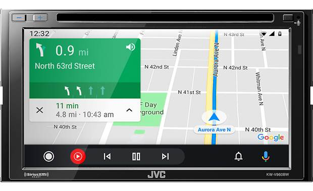 JVC KW-V960BW shown with Google Maps using Android Auto