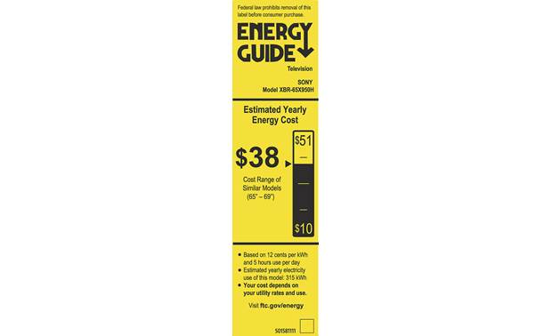 Sony XBR-65X950H Energy Guide