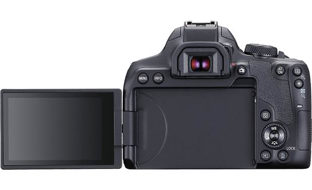 Canon EOS Rebel T8i (no lens included) The LCD touchscreen tilts and rotates for flexible image composition