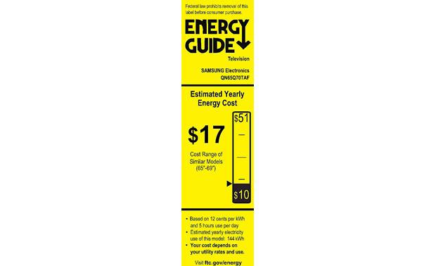 Samsung QN65Q70T Energy Guide