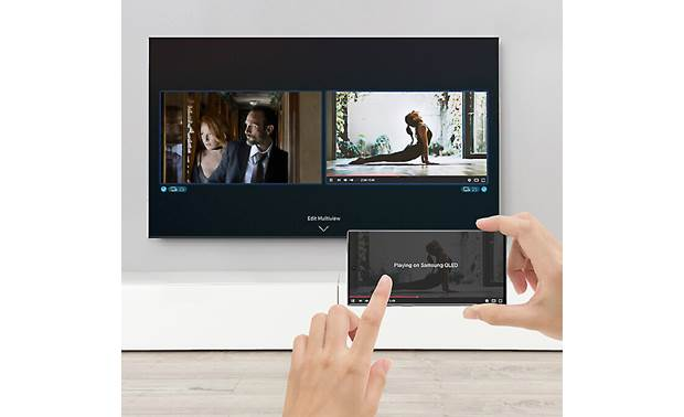 Samsung QN75Q80T Multi View lets you split the screen to show your mirrored mobile device next to  your TV conte