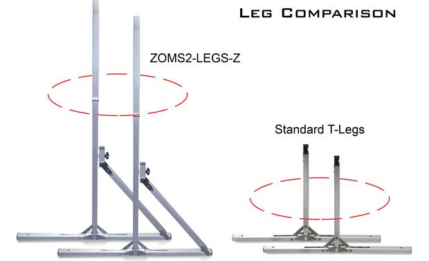 Elite Screens ZOMS2-LEGS-Z Detachable and foldable design is easy to swap with existing