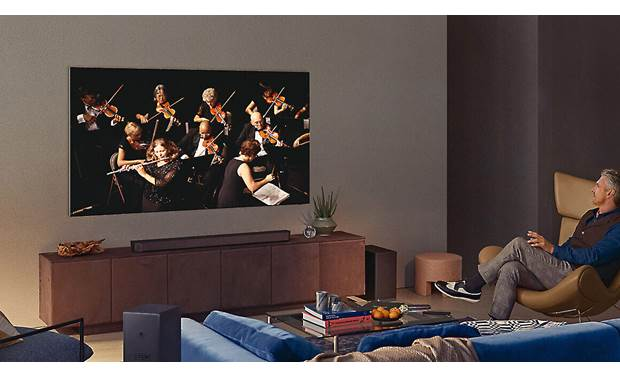 Samsung QN65QN900A Q-Symphony lets the TV's speakers harmonize with compatible Samsung sound bars