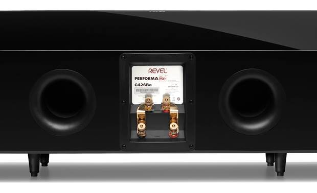 Revel C426Be Bass reflex cabinet design with rear-firing flared ports