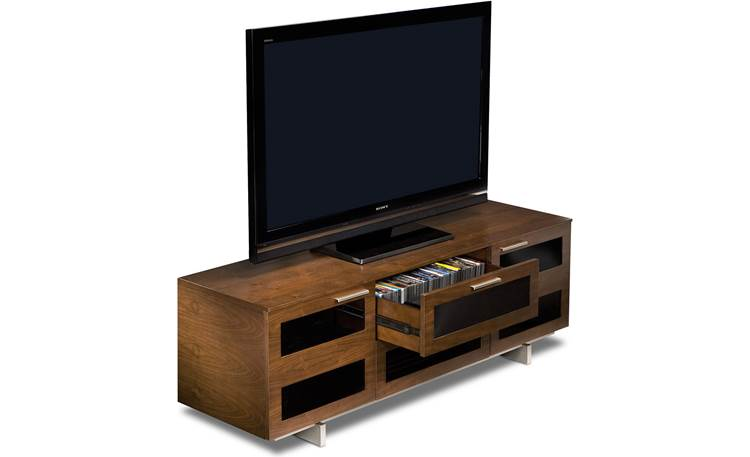 BDI Avion 8927 Series II Chocolate Stained Walnut with media drawer open (TV and components not included)