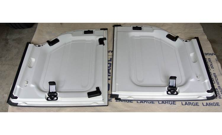 Boom Mat Sound Deadening Headliner Kit Headliner panels of 2012 Jeep Wrangler hard-top before Boom Mat installation