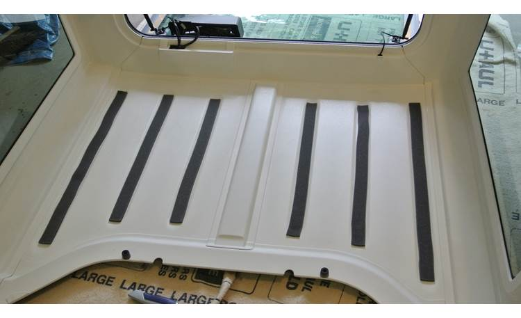 Boom Mat Sound Deadening Headliner Kit Boom Mat adhesive strips in 2012 Jeep Wrangler hard-top headliner