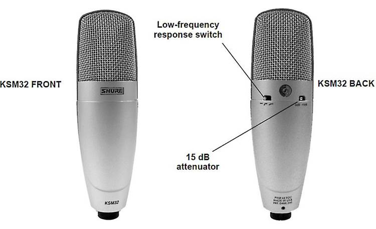 Shure KSM32 Front and back views