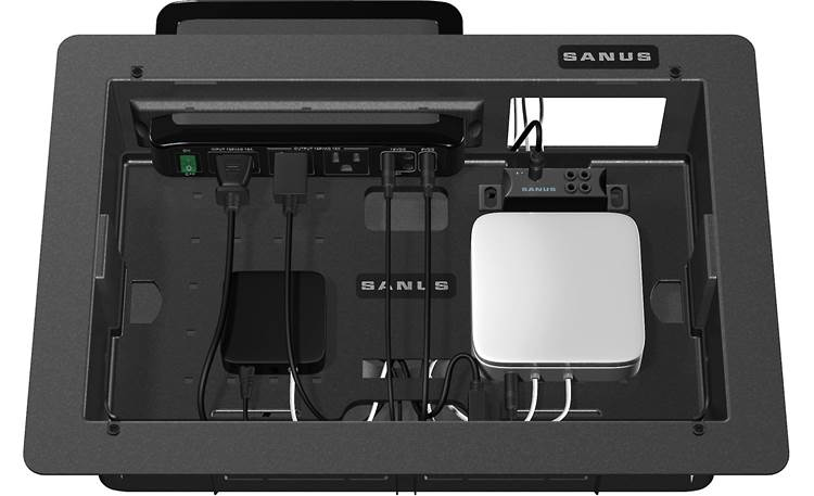 Sanus SA809 Houses smaller A/V components and holds Sanus SA206 surge protector (router, surge protector, and streaming device not included)