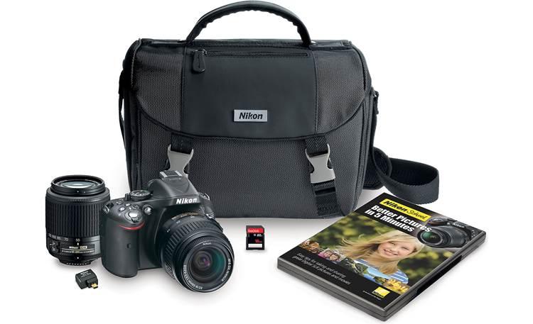 Nikon D5200 Dual Lens Kit Black 24 1 Megapixel Digital Slr Camera With 18 55mm And 55 200mm Lenses At Crutchfield