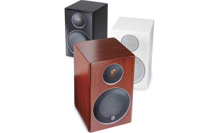 Monitor Audio Radius 90 Pictured in High-gloss Black, High-gloss White, and Walnut