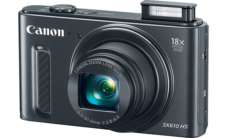 Canon PowerShot SX610 HS Shown with built-in flash deployed
