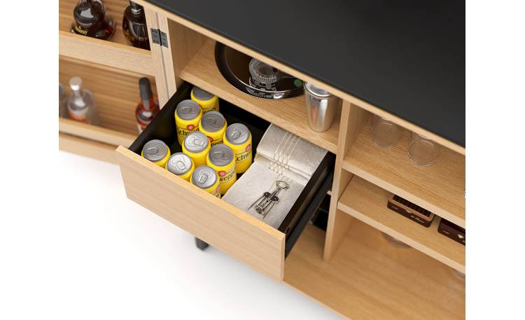 BDI Corridor Bar 5620 White Oak - drawer detail (drinks and accessories not included)