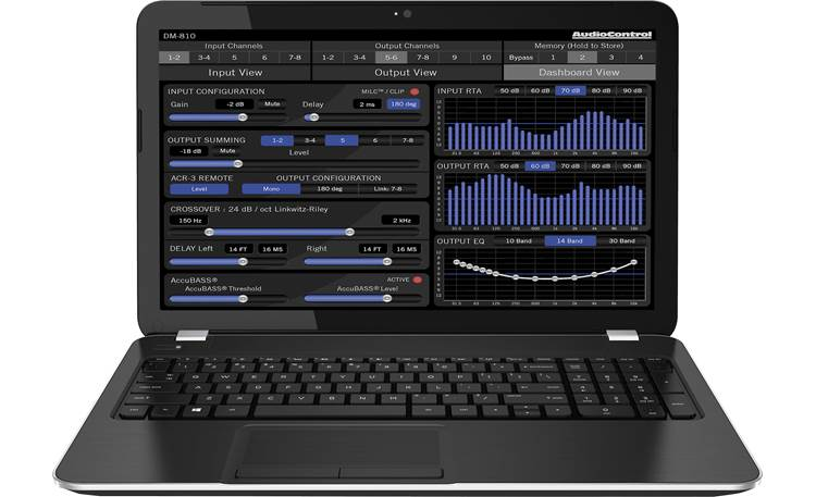AudioControl D-4.800 Smart-User DSP tuning software (for DM-810 model) on a laptop