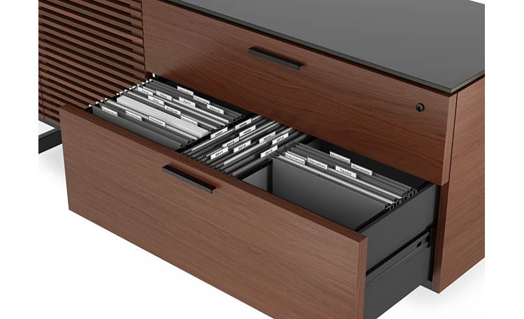 BDI Corridor 6529 Chocolate Stained Walnut - hanging file drawer detail (file folders not included)
