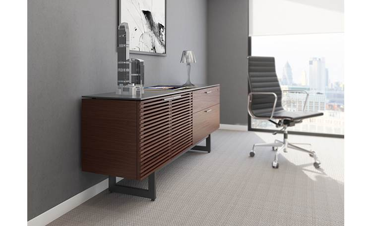 BDI Corridor 6529 Chocolate Stained Walnut - left front (office accessories and chair not included)