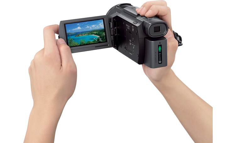 Sony Handycam® FDR-AX33 LCD screen flips out for a good handheld view