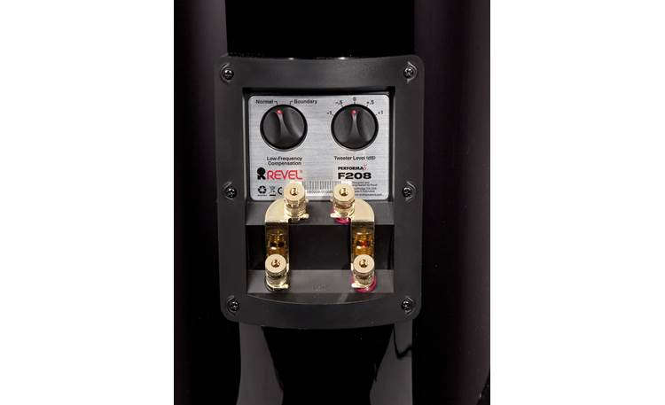 Revel Performa3 F208 Back-panel controls for tweeter level and low-frequency compensation