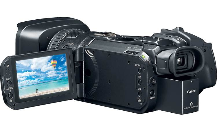 Canon VIXIA GX10 3-1/2-inch tilting LCD touchscreen helps with framing, playback, and selecting camera functions