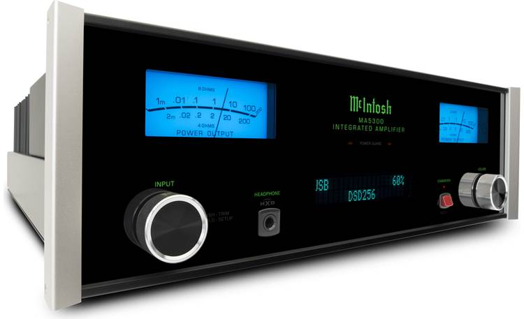 McIntosh MA5300 Polished stainless steel chassis with black glass front panel, illuminated logo, and aluminum end caps