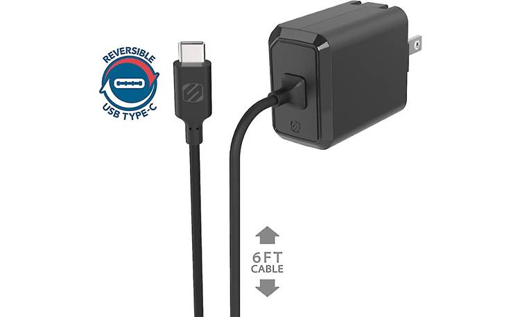Scosche PowerVolt 3.0 USB-C Home Charger Built-in 6-foot recharging cable