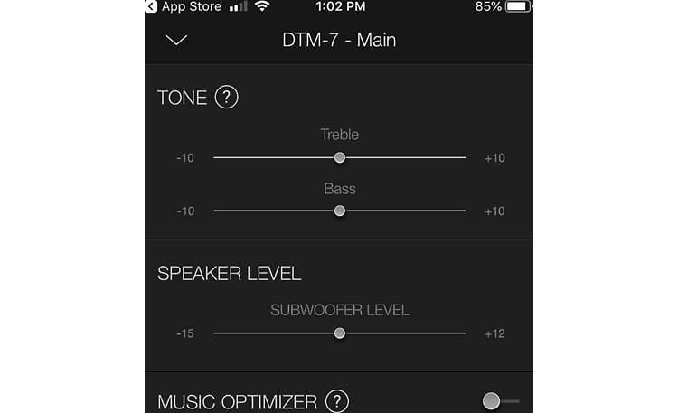 Integra DTM-7 The free app features tone and subwoofer level controls