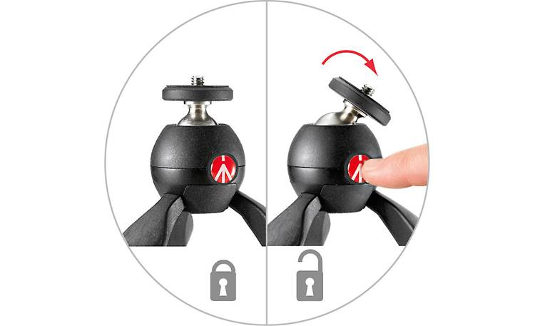 Manfrotto PIXI Push-button locking mechanism for easy setup