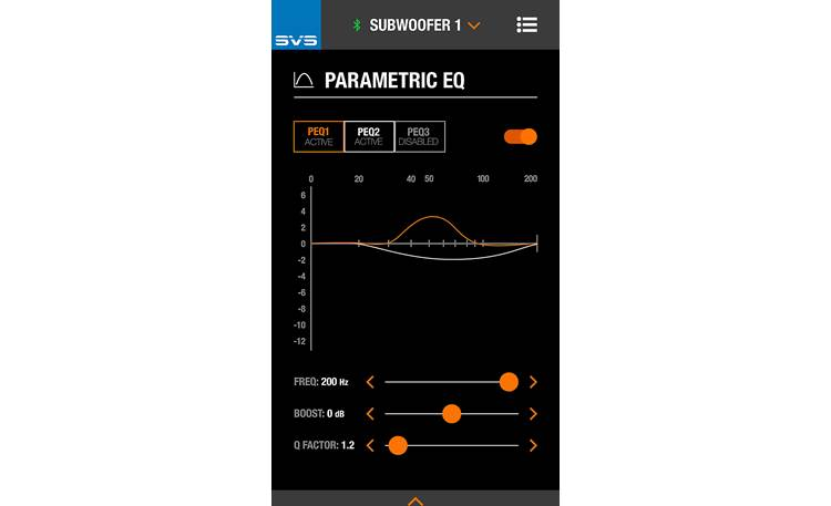 SVS SB-3000 Parametric EQ controls