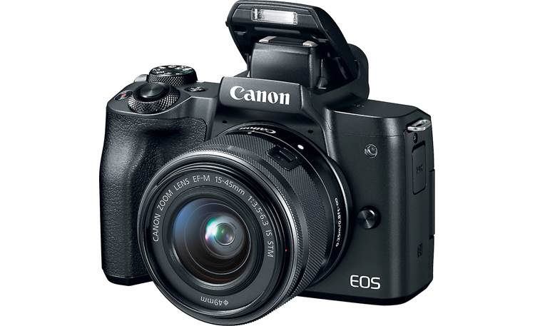 Canon EOS M50 Kit Front, with flash popped up