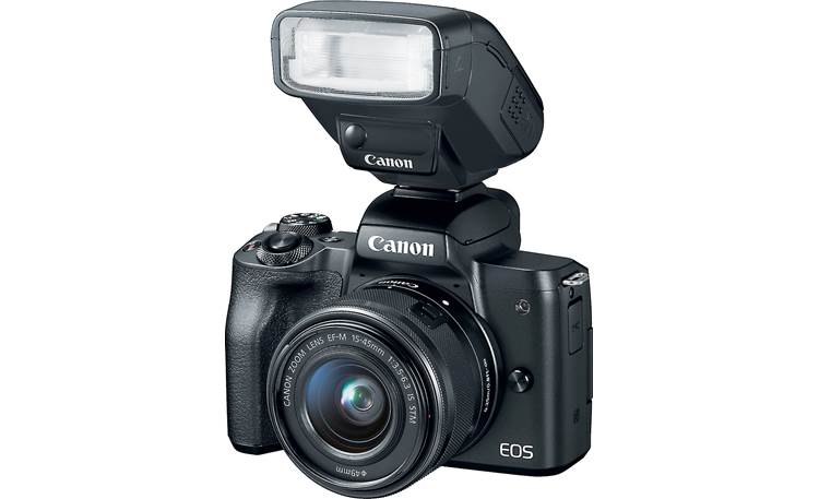 Canon EOS M50 Kit Front, with external flash (not included)