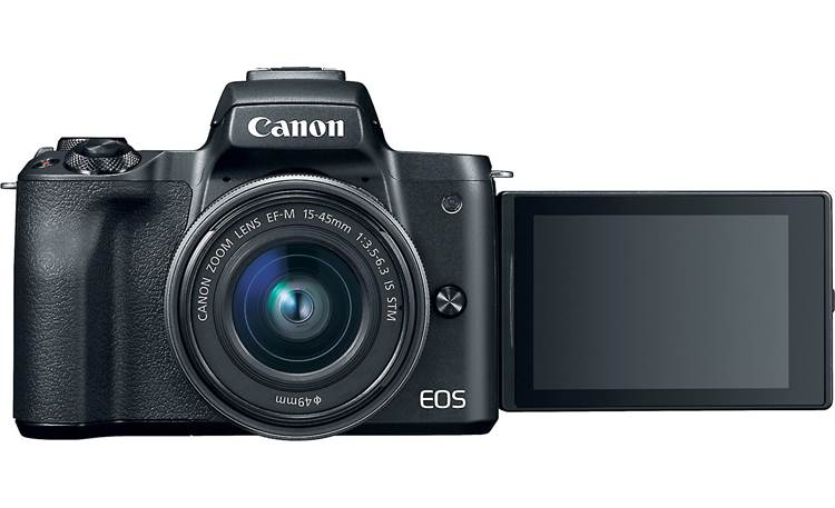 Canon EOS M50 Kit Front, with rotating touchscreen facing forward