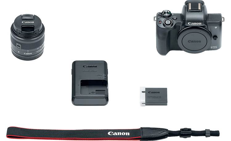 Canon EOS M50 Kit Shown with included accessories