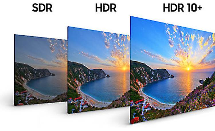 Samsung UN55NU8000 Compared to standard dynamic range (SDR), HDR 10 enhances overall picture contrast, while HDR 10+ improves scene-to-scene contrast