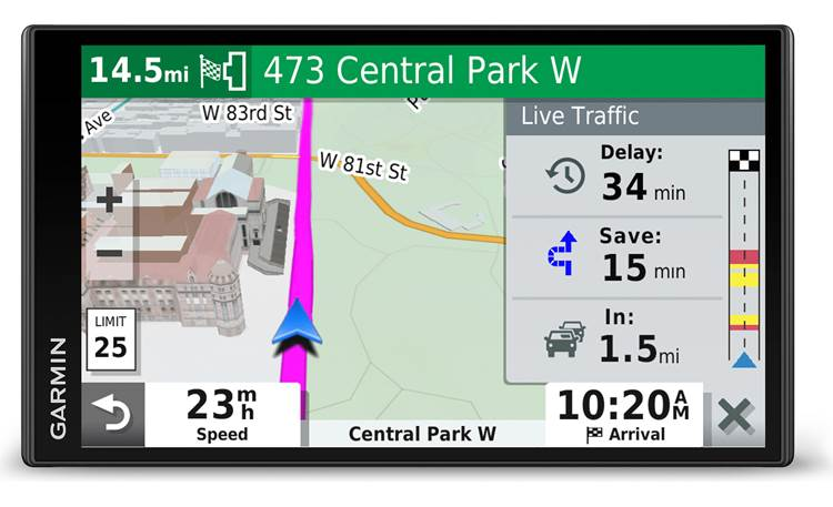 Garmin DriveSmart™ 65 & Traffic multi-touch glass display with pinch-to-zoom touchscreen control
