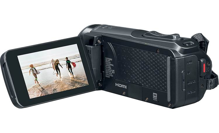 Canon VIXIA HF W10 HDMI, USB, and A/V connections on the back of the camera