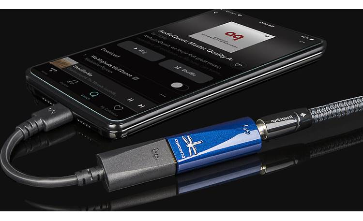 AudioQuest DragonFly® Cobalt USB-C adapter included for connecting your compatible Android phone