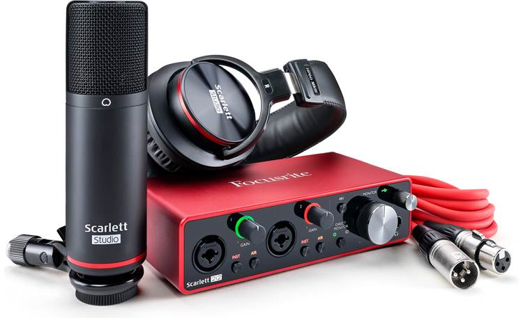 Focusrite Scarlett 2i2 Studio (3rd Generation) Bundle includes USB interface, headphones, microphone, and mic cable