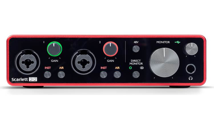 "Focusrite Scarlett 2i2 (3rd Generation) Illuminated, color-coded ""halos"" indicate input signal and clipping"