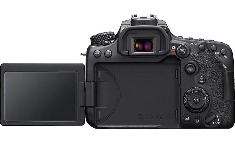 Canon EOS 90D Kit Shown with rotating touchscreen flipped out