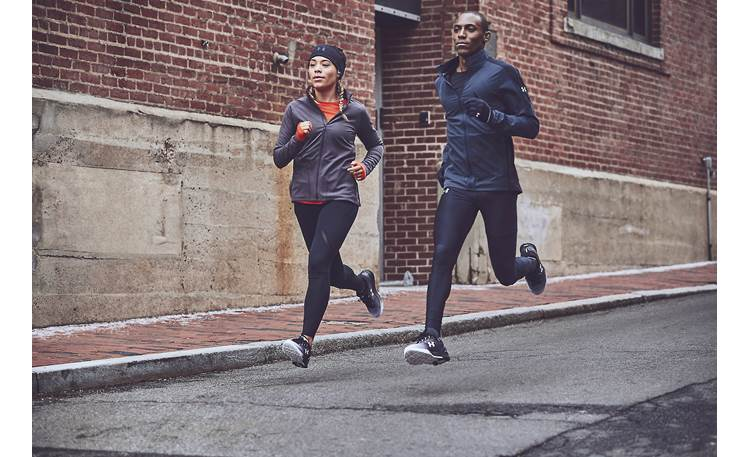 Under Armour® Sport Wireless PIVOT — Engineered by JBL Wraparound ear hooks and silicone stabilizers help keep the earbuds in place