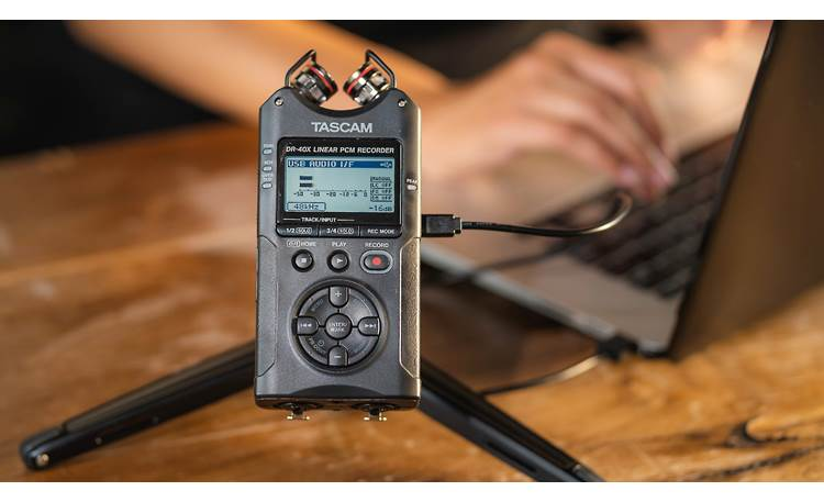 Tascam DR-40X Doubles as a USB microphone (cables and tripod not included)