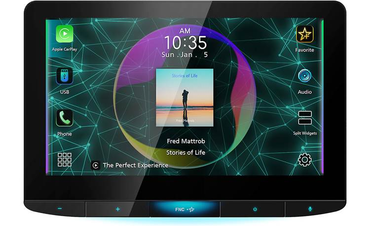 "JVC KW-Z1000W JVC's huge 10"" touchscreen HD display gives you full control and looks great doing it"