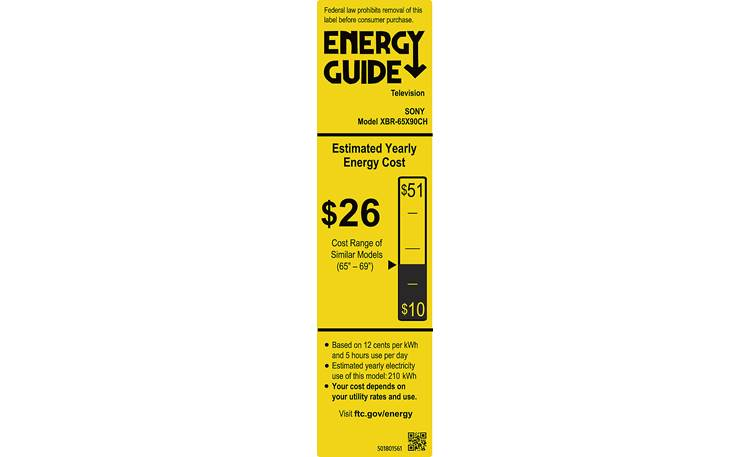 Sony XBR-65X900H Energy Guide