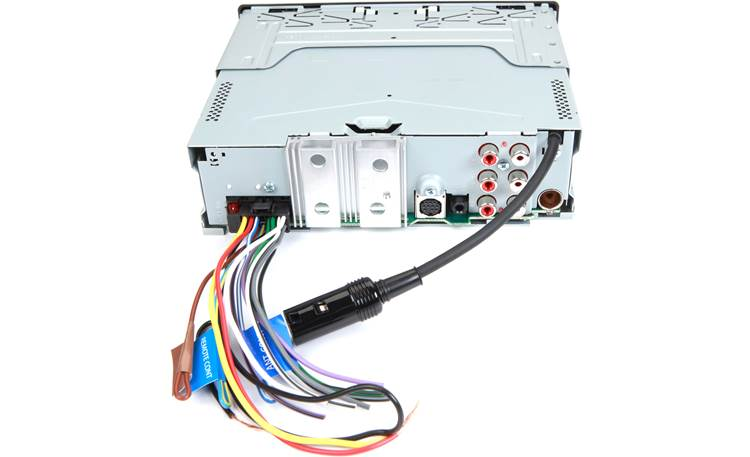 Kenwood KMR-D378BT Rear panel shown with included wiring harness